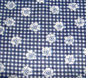 "Navy Gingham Plaid White Flowers soft Cotton Fabric 45""w"