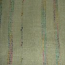 Light Olive Green Linen Weave Multi-Color Shimmer Stripes Fabric