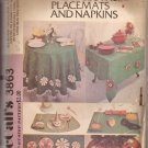 McCalls 3863 (1973) Vintage Tablecloth Placemat Napkin Christmas Tree Skirt Appliques Pattern UNCUT