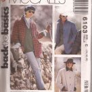 McCalls 6103 (1992) Unlined Jacket Yoke Collar Cuffs Front Button Pattern Size 14 16 18 UNCUT