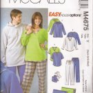 McCalls 4675 (2004) Unisex Shirt Pull-on Jacket Hoodie Pants Socks Blanket Pattern Size XS S M UNCUT