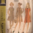 McCalls 2470 (1970) Vintage Coat Dress Collar Sleeve Pocket Variations Pattern Size 14 CUT