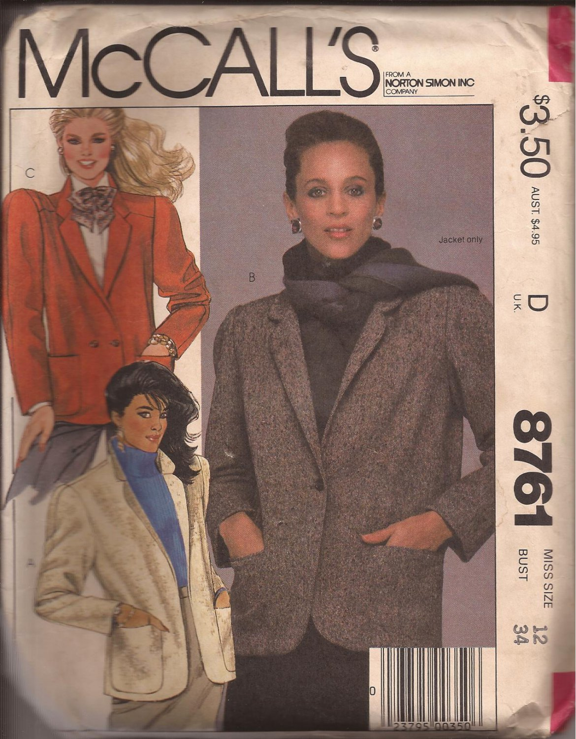 McCalls 87761 (1983) Unlined Jacket Patch Welt Pockets Single Double Breasted Pattern Size 12 UNCUT