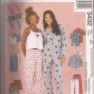 McCalls 3432 (2001) Junior Girls Pajama Top Pants Nightgown Camisole Pattern PART CUT