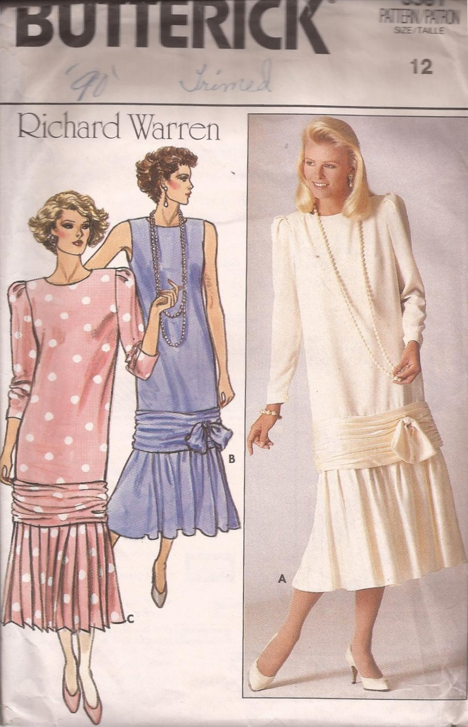 Butterick 3581 (1985) Evening, Special Occassion, Mother of Bride Dress Pattern Size 12 CUT