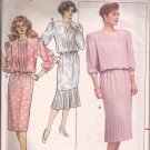 Butterick 4787 (1987) Bodice Skirt Flounce Pleats Long 3/4 Sleeves Dress Pattern Size 12 CUT