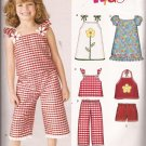New Look 6392 Girls Tie Halter Puff Ruffle Sleeve Top Dress Pants Shorts Pattern Size 3-8 PART CUT