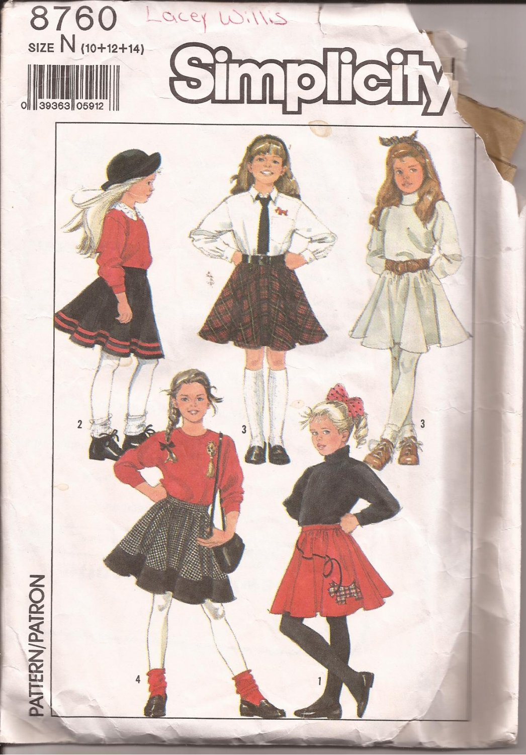 Simplicity 8760 (1988) Circle Skirt Applique Pattern Size 10 12 14 CUT to 14