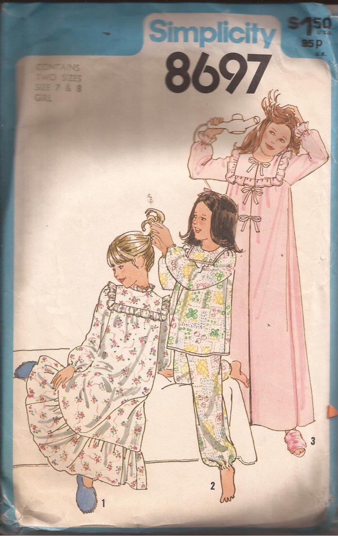 Simplicity 8697 (1978) Vintage Girls Nightgown Pajamas Robe Pattern Size 7 8 CUT to 8