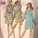 Simplicity 8294 (1969) Vintage Classic Shirtdress Front Button Elastic Waist Pattern Size 16 CUT