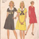 Simplicity 6212 (1974) Vintage Dress V Neck Shaped Collar Button Trim Scarf Pattern Size 14 CUT