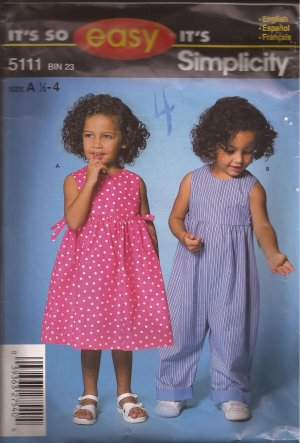 Simplicity 5111 (2004) Toddler Girls Dress Romper Pattern Size 1/2 1 2 3 CUT to 3
