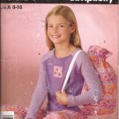 Simplicity 4761 Girls Crop Sleep Pants Knit Top and Carry Bag Size 8 10 12 14 16 UNCUT