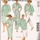 McCalls 9565 (1985) Unlined Jacket Dolman Shirt Straight Skirt Pleated Pants Pattern Size 18 UNCUT