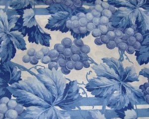 Grapes Vines in Blues on White Cotton Sheeting Fabric