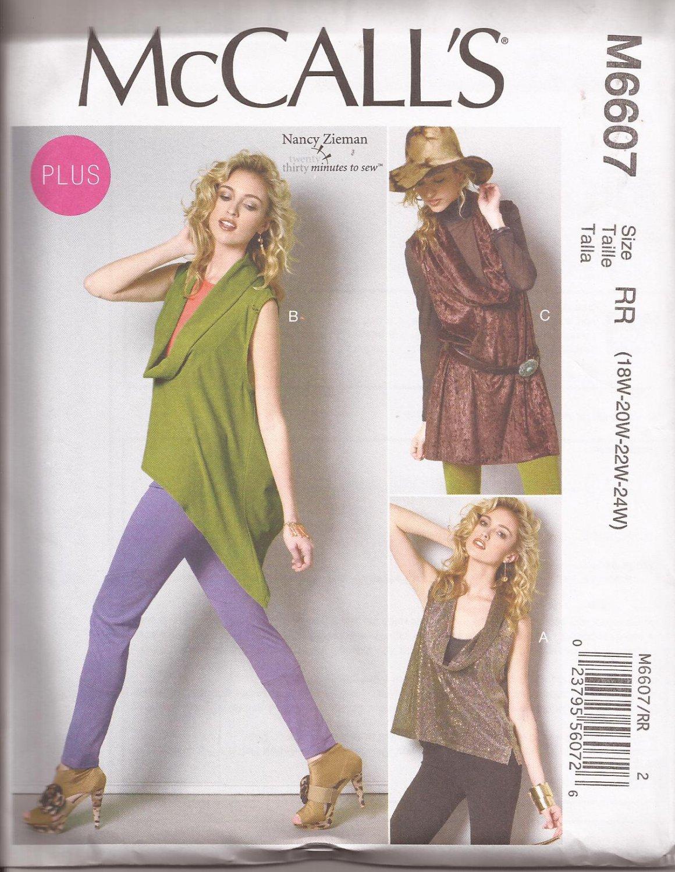McCalls 6607 (2012) Low Cowl Neck Top Tunic Pattern Plus Size 18W 20W 22W 24W UNCUT