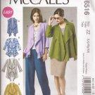 McCalls 6516 (2012) Unlined Vest Jacket Front Drape Ruffle Pattern L XL XXL 16 18 20 22 24 26 UNCUT
