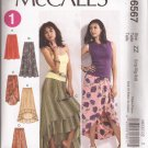 McCalls 6567 (2012) Elastic Waist Skirts Shaped Hem Mock Wrap Pattern 16 18 20 22 24 26 UNCUT