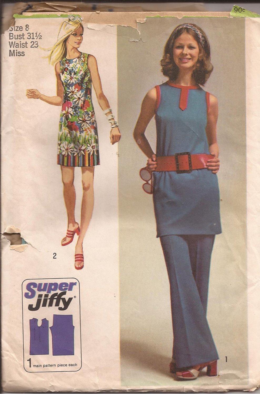 Simplicity 9410 (1971) Vintage Super Jiffy Mini Dress Tunic Pants Pattern Size 8 UNCUT