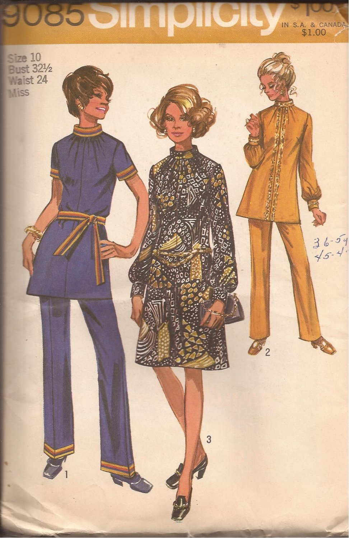 Simplicity 9085 (1970) Vintage Dress Tunic Elastic Waist Pants Pattern Size10 UNCUT