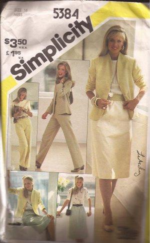 Simplicity 5384 (1981) Skirt Straight Leg Pants Blouse Top Lined Jacket Pattern Size 16 CUT