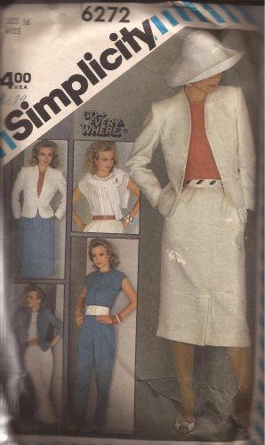 Simplicity 6272 (1983) Pants Slim Skirt Lined Jacket Blouse Top Pattern Size 16 CUT