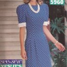 Butterick 5960 (1992) Dress Fitted Waist Tucks Band Bow Sleeves Petite Pattern Size 18 20 CUT