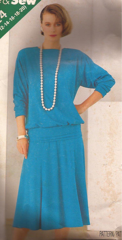 Butterick 5524 (1986) Top Blouse Cummerbund Gored Skirt Pattern 8 10 12 14 16 18 20 CUT