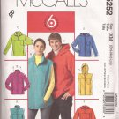 McCalls 5252 (2006) Unisex Unlined Hoodie Jacket Vest Fleece Pattern UNCUT S M L