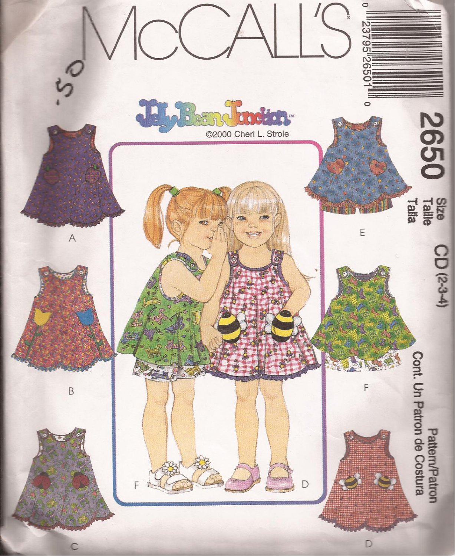 McCalls 2650 (2000) Child Girls Dress Top Pull On Shorts Pattern Size 2 3 4 PART CUT