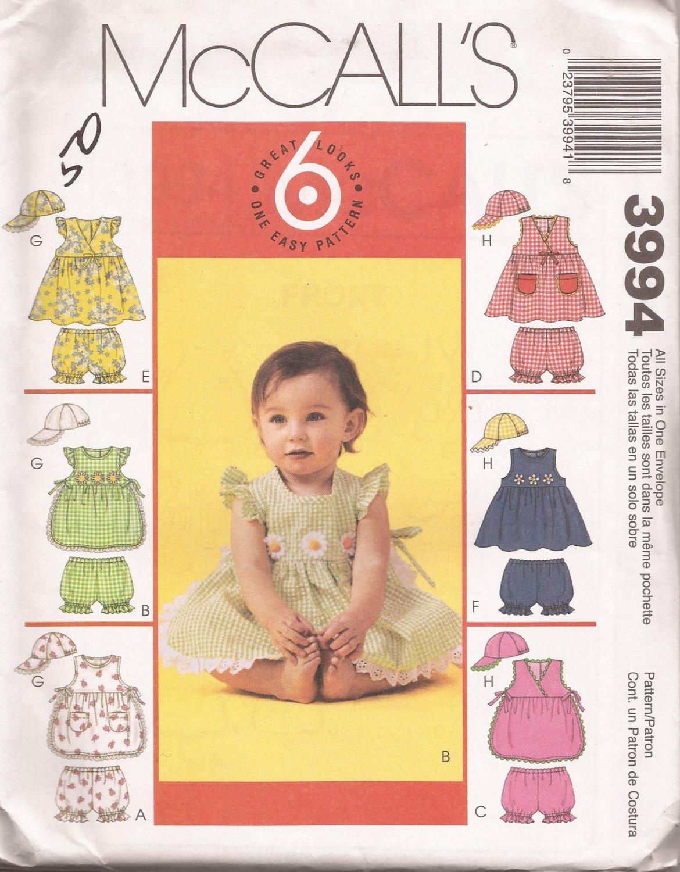 McCalls 3994 (2003) Infant Top Panties Hat Pattern Size S M L XL UNCUT