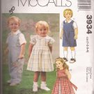 McCalls 3934 (2003) Toddler Girl Boy Jumpsuit Shirt Dress Slip Pattern Size 1 2 3 4 UNCUT