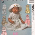 McCalls 2053 (1999) Infant Girl Dress Romper Panties Hat Pattern Size S M L XL UNCUT