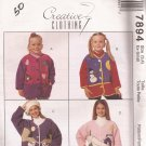 McCalls 7894 (1995) Child Girl Jacket Swan Snowman Moon Heart Applique Pattern Size 3 4 XS UNCUT