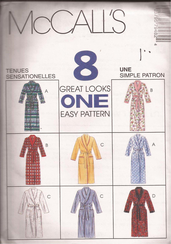 McCalls 7948 (1995) Misses Womens Mens Unisex Robe Pattern Size XL XXL UNCUT