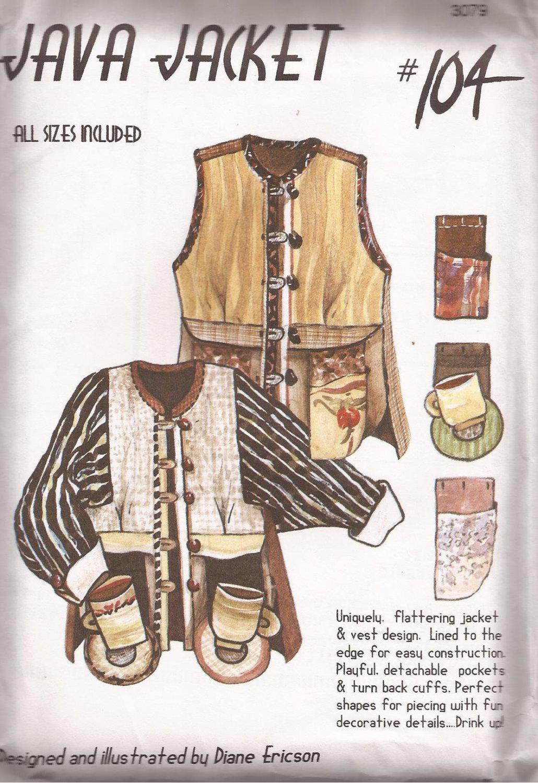 Diane Ericson Re Visions 3079 Java Jacket Vest #104 Pattern Size XS S M L XL XXL UNCUT