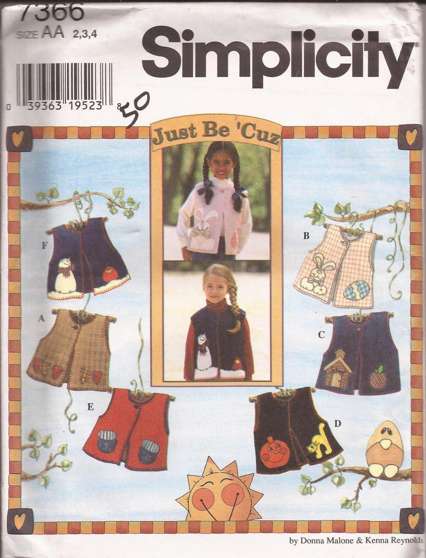 Simplicity 7366 (1996) Girls Lined Vest Front Button Appliques Pattern Size 2, 3, 4 UNCUT