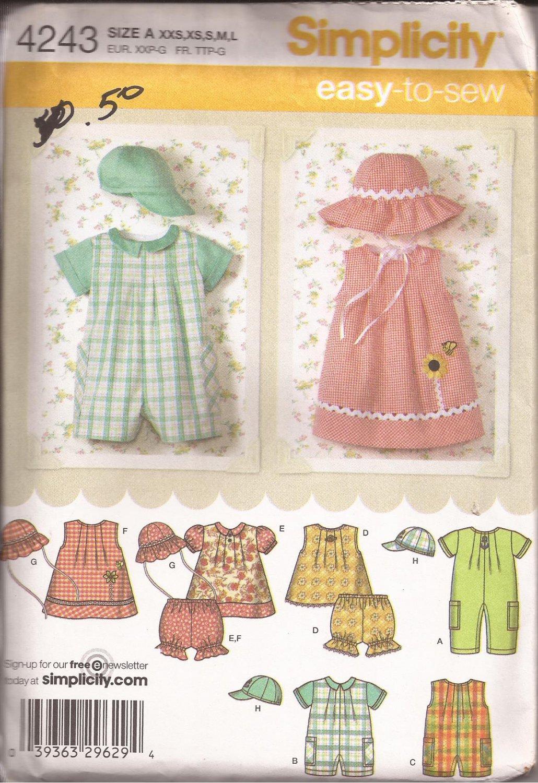 Simplicity 4243 (2006) Infants Romper Dress Top Panties Hats Pattern Size XXS XS S M L UNCUT