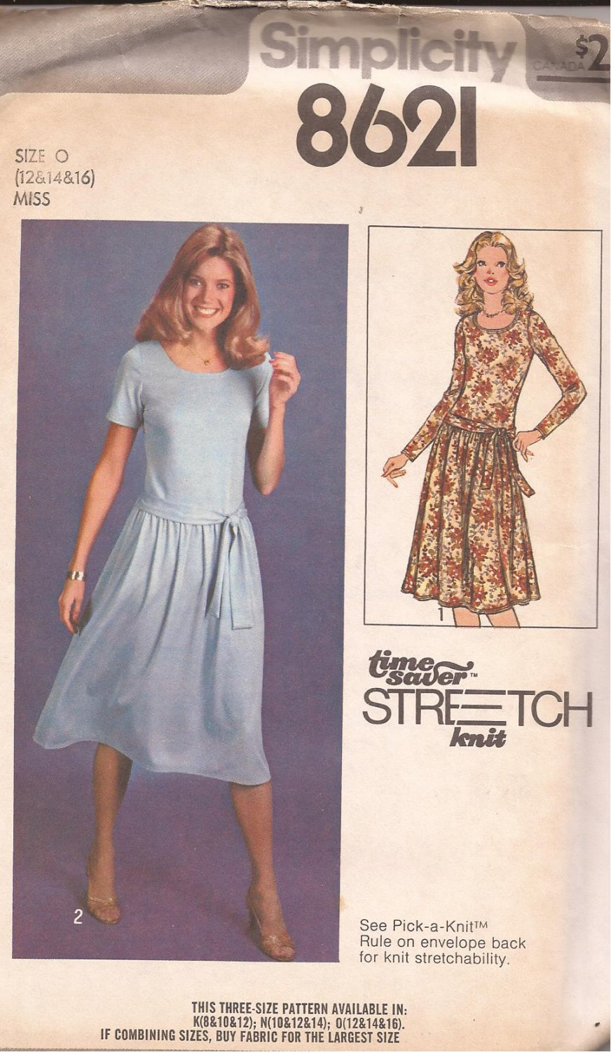 Simplicity 8621 (1978) Vintage Pullover Dress Round Neck Tie Belt Pattern Size 12 14 16 UNCUT