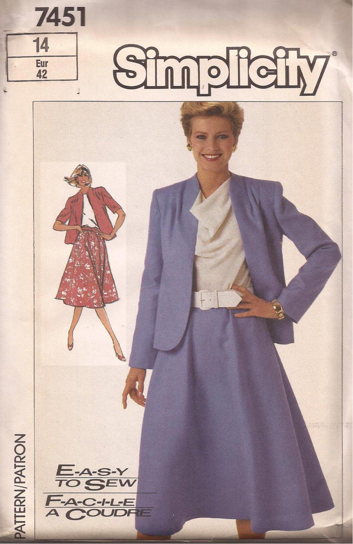 Simplicity 7451 (1986) Unlined Jacket Flared Elastic Waist Skirt Pattern Size 14 UNCUT