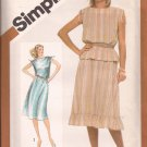 Simplicity 9960 (1981) Pullover Drawstring Shoulder Dress Top Ruffle Skirt Pattern Size 14 UNCUT