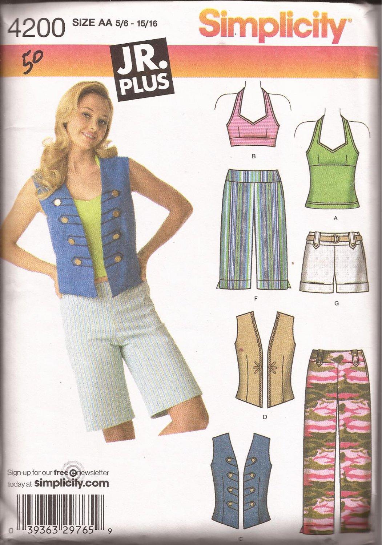 Simplicity 4200 (2006) Halter Top Pants Shorts Junior Plus Pattern 5-6 7-8 9-10 11-12 13-14 15-16