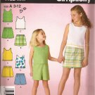 Simplicity 4152 (2006) Girls Tank Top Elastic Waist Shorts Skort Pattern Size 3 4 5 6 7 8 10 12 CUT