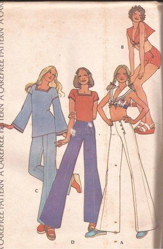 McCalls 3623 (1973) Vintage Miss Junior Petite Wide Leg Pants Shorts Halter Pattern Size 16 UNCUT