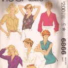 McCalls 6866 (1979) Vintage Classic Top Blouse Shirt Pattern Size 16 PART CUT