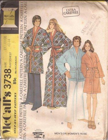 McCalls 3738 (1973) Vintage Classic Mens Womens Bath Robe Pattern Size XL 42 40 UNCUT