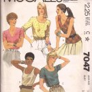 McCalls 7047 (1980) Top Shirt Blouse Scoop V Neck Pattern Size 16 UNCUT