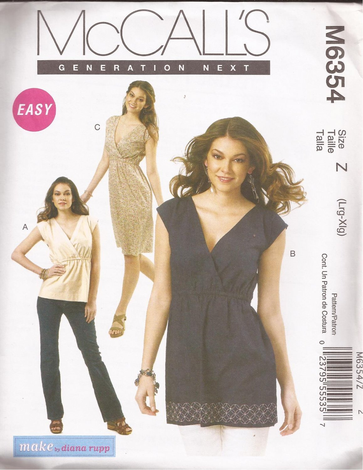 McCalls 6354 (2011) Easy Pullover Mock Wrap Top Dress Tunic Pattern Size L XL UNCUT