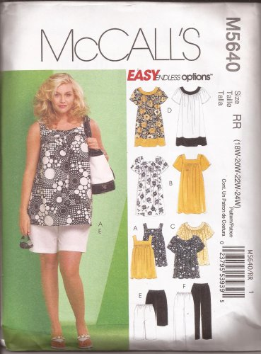 McCalls 5640 (2008) Top Dress Shorts Capri Pants Pattern Size 18W 20W 22W 24W UNCUT