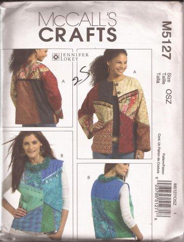 McCalls 5127 (2006) Color Block Button Front Jacket Vest Pattern Size S M L XL UNCUT